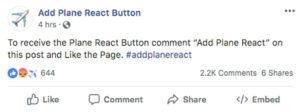 plane react post scam