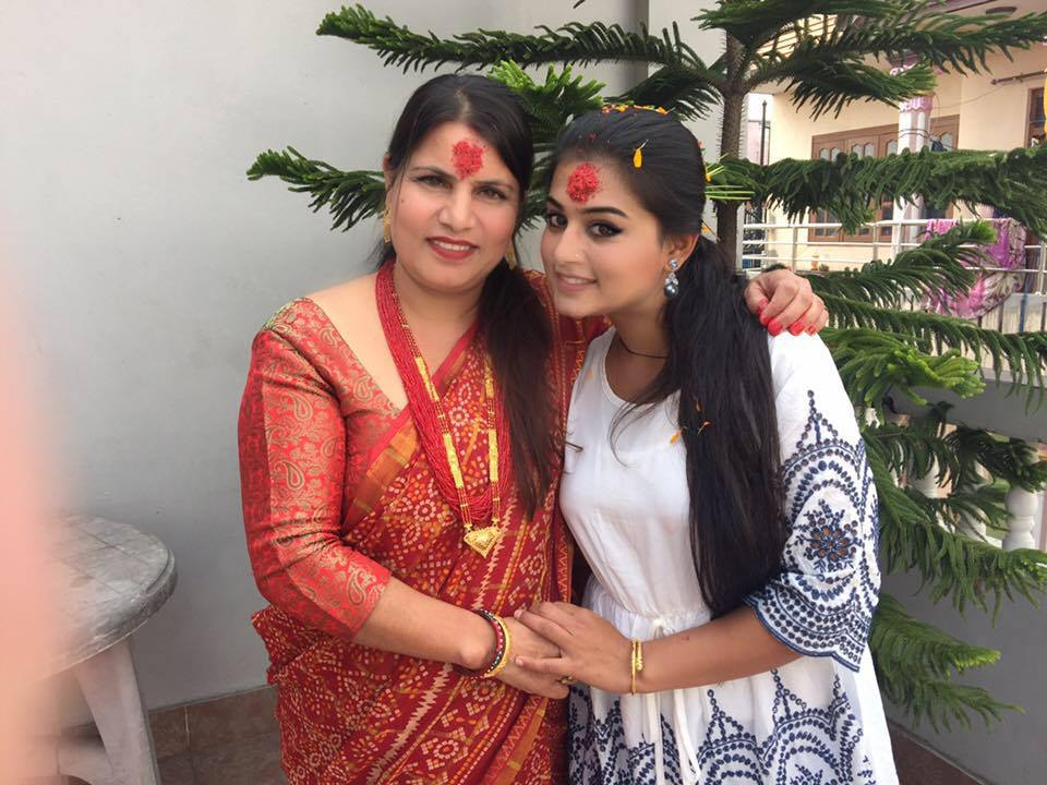 Shilpa Pokhrel with mom