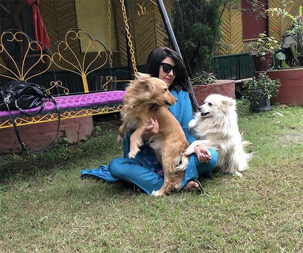 Karishma Manandhar with her pet