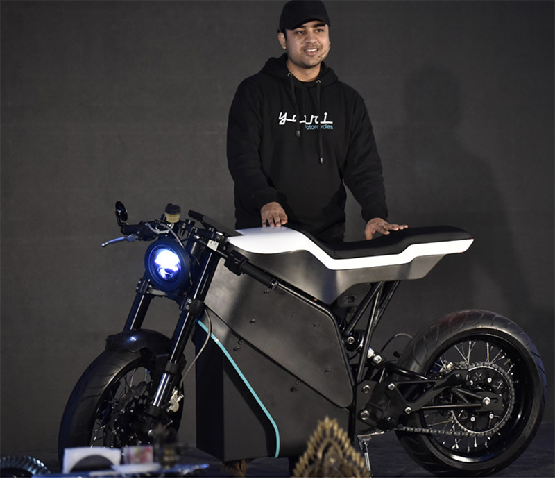 Ashim Pandey with Project Zero Yatri Motorcycle