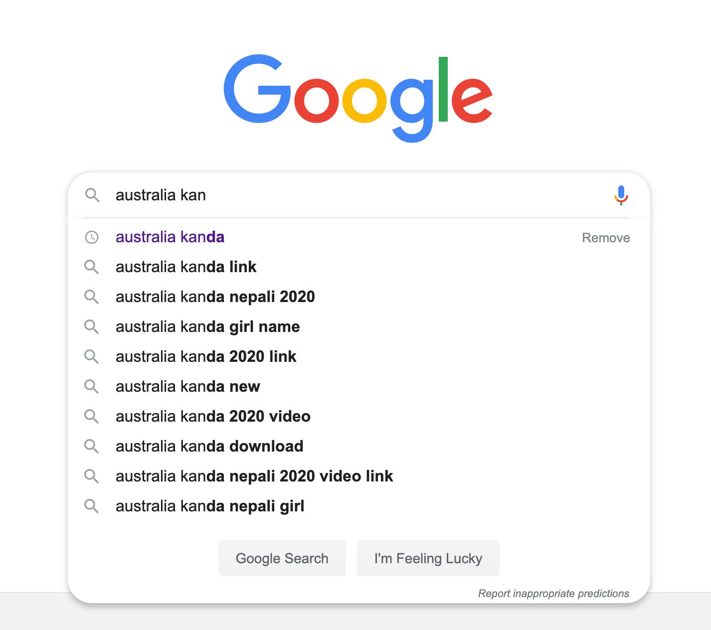 Australia kanda google