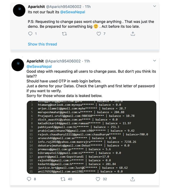 esewa data breach tweet